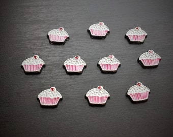 Cupcake Floating Charm for Floating Lockets-Blue & Pink-Birthday Charm-Gift Idea