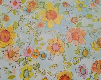 Vintage Wrapping Paper by Laurel  - Floral Paper - Sunny Dancing Daises - All Occasion - 1 Unused Full Sheet Gift Wrap