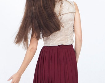 Red skirt, red pleated skirt, burgundy skirt, pleated chiffon skirt, pleated midi skirt, school girl skirt, short skirt