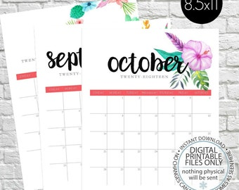 Printable Calendar 2018, Floral Calendar, Floral Wall Calendar, Monthly Calendar, Watercolor Flower, Planner, Calender Pages, letter size