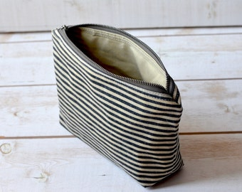 Waxed canvas pouch - waxed canvas bag, black striped travel pouch, zipper pouch, christmas gift pouch