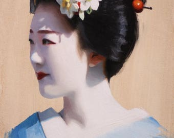 Portrait of Tomitae - original oil painting on 33cm x 24cm canvas board - japanese geisha art asian maiko artwork
