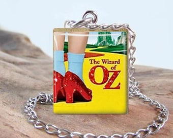 Wizard of Oz 2 Necklace Jewelry - Ruby Slippers Stainless Scrabble Jewelry - Choose Letter - Quality Stainless Chain and Findings - Gift