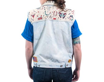Custom Jean Jacket Vest with patches vintage