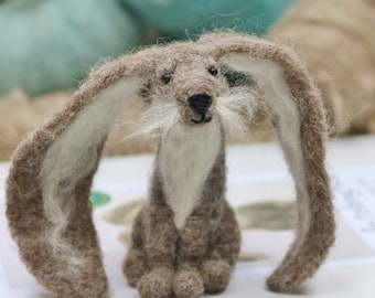 Rabbit needle felting kit for beginners, Needle felting starter kit grey lop eared rabbit, Mother's Day Gift