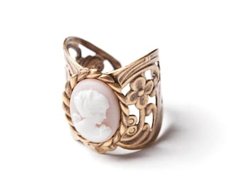 Marcelline Ring - Vintage Jewelry - Cameo Ring - Brass Ring - Rose Ring (SD0034)