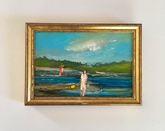 Woman on Beach Scene Impressionistic Painting- Figures on Beach Painting- Original-6 x 8-1/2 approx. inch - including Frame