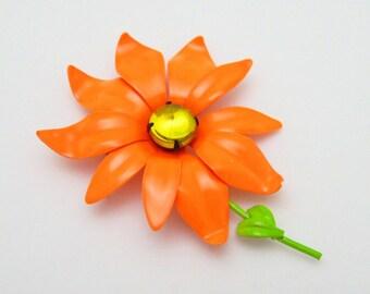 Vintage Orange Flower Brooch Fifties Neon