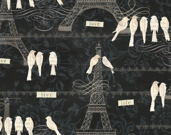 Paris Charm - Eiffel Tower Birds from David Textiles