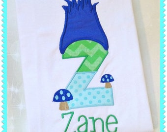 Boys Birthday Shirt - Personalized Birthday Shirt - Troll Hair Shirt - embroidered Shirt - Troll party - Monogram Birthday Shirt