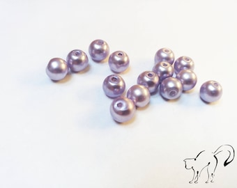 Purple set of 10 round pearls