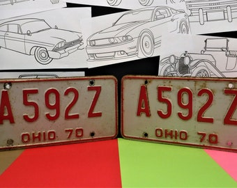 """1970 OHIO LICENSE PLATES...""""A 592 Z""""...Not Reproductions...Not Restored"""