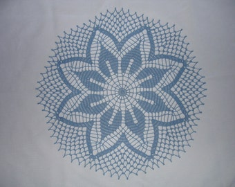 Flowering Echo Crocheted Doily in Blue 18 inches
