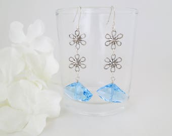 Blue dangle earrings, Swarovski aquamarine crystal earring, Blue crystal and antique sterling silver earring, Gift for her