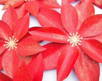 Three Paper Poinsettias, Red Paper Flowers, Christmas Flowers, Wall Paper Flower, Christmas Decoration, Gold Holiday Decor, Gold Centerpiece