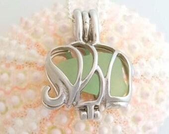 Elephant Jewelry, GENUINE Sea Glass Necklace, Elephant Necklace, Elephant Locket, Seaglass Jewelry, Exclusive Stainless Steel Elephant