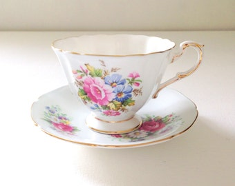 Vintage Paragon Fine Bone China Her Majesty the Queen Pastel / Pale Blue Tea Cup & Saucer Tea Party c. 1950s