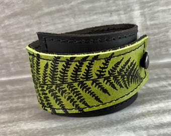 Leather Cuff Bracelet Wrap, Fern Print in Brown & Hunter Green* SALE * Coupon Code