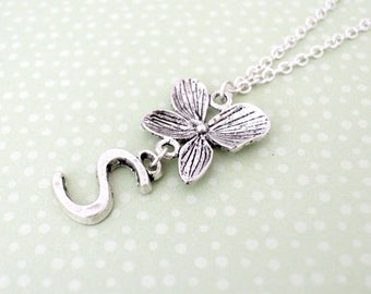 Alphabet S necklace gift for her-Alphabet letter necklace-Orchid necklace-S letter necklace-Initial necklace with flower jewelry