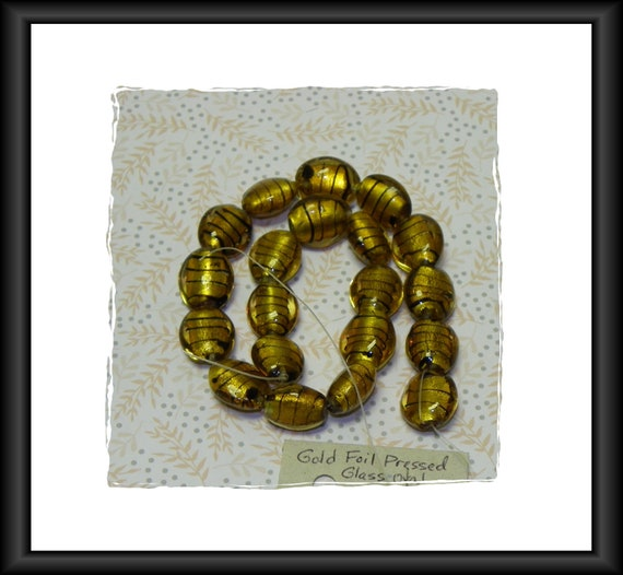 Gold Dichroic / Foil  Lampwork Oval Glass Beads 18 mm 14-Inch Strand
