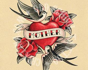 Mother Love. Old School Tattoo print.