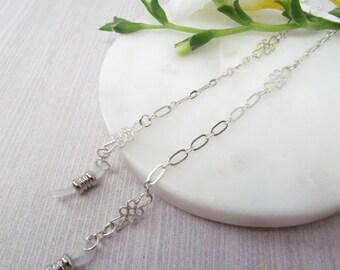 Delicate silver eyeglasses chain - eye glass chain - reading glasses - silver glasses chain - glasses leash - glasses holder