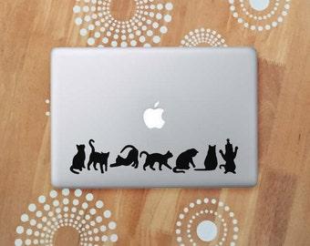 Black Cat Laptop Decal, Cat Car Decal, Black Cat Silhouette Decals, Cat Sticker Decals,