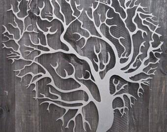 Metal Wall Art Decor 3D Sculpture Tree Of Life Love