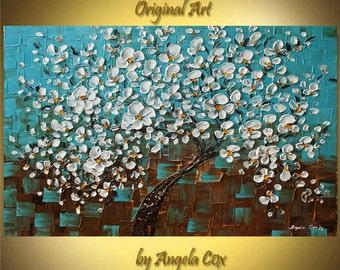 Original Modern  Aqua White Cherry Tree Acrylic Heavy Impasto Palette Knife  Painting. Made2 Order.