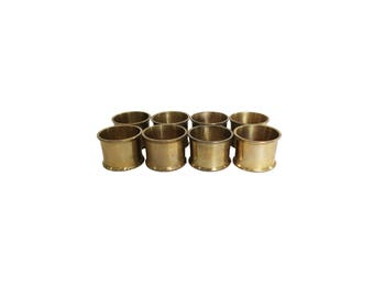 Vintage Gold Brass Round Napkin Rings Set of 8