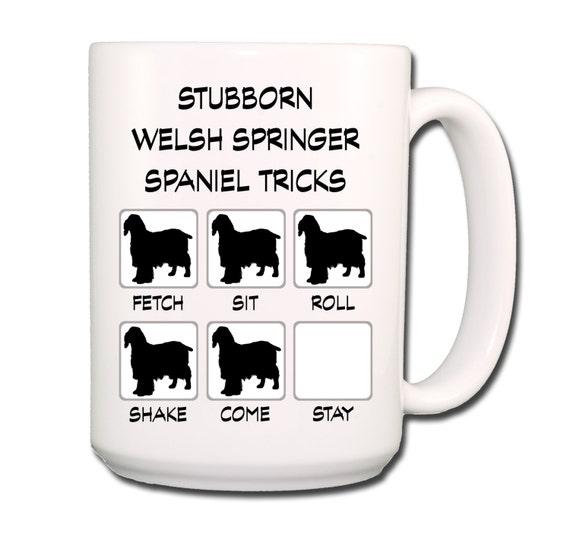 Welsh Springer Spaniel Stubborn Tricks Large 15 oz Coffee Mug