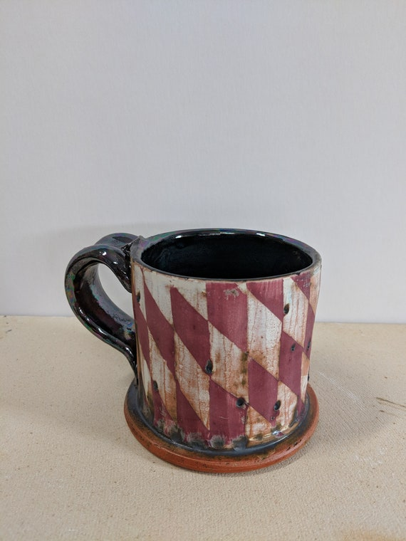 Handmade Ceramic Mug with Checkers