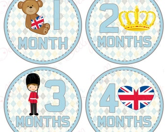 Neutral Monthly Baby Stickers, 1 to 12 Months, Monthly Bodysuit Stickers, Baby Age Stickers, Britain