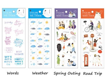 Planner/Jouranl Sticker Set #4 - Words, Weather, Spring Outing, Road Trip, Girls