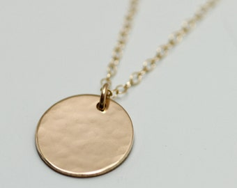 Gold disc necklace - dainty gold necklace - delicate gold jewelry - minimalist necklace - simple necklace - hammered gold circle necklace