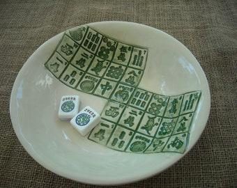 Mahjong Bowl -  Mahjong Pottery - Mahjong Gift - Oriental Bowl - Handmade Pottery - Gift Idea - Mahjong Tableware