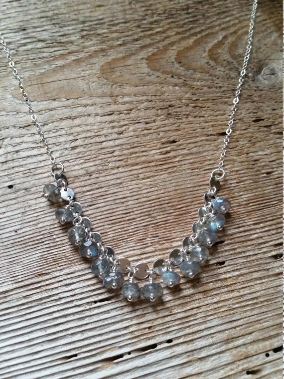 Labradorite on sterling silver circle disc chain necklace