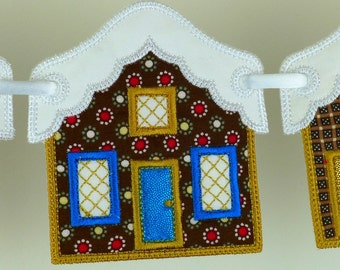 """Snowcapped House In The Hoop Banner Machine Embroidery Design Applique Patterns all done In-The-Hoop 2 variations 3 sizes 4"""", 5"""" and 6"""""""