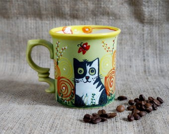 Valentines-day-Ceramic-mug-Cat-Stoneware-mug-Tea-cup-Funny-mug-Girl-gift-Pottery-mug-Cute-mugs-Gift-under-20-Love-gift-idea-for-her-birthday