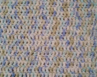 Crocheted  baby blanket with matching hat