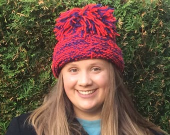 Red and Blue Chunky Knit Beanie with Pom
