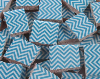 Ceramic Mosaic Tiles - Blue And White Chevron Zig Zag Mosaic Tile Pieces - Blue Tile 40 Pieces - Mosaic Art / Mixed Media Art/Jewelry