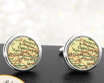 Map Cufflinks Watertown MA Cuff Links State of Massachusetts for Groomsmen Wedding Party Fathers Dads Men Graduation Gifts For Him