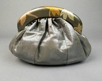 70s Snakeskin Clutch Handbag Wood Handle, Vintage Reptile Leather Evening Bag, Designer Clutch Zushi, Retro Gifts for Her, Unique Purse