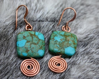 Turquoise And Copper Spiral Earrings - Mosaic Turquoise Earrings - Copper Spirals - Copper Earrings - Hand Formed Earrings - Two Feathers