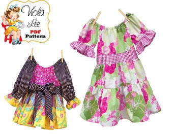 Girls Dress Pattern, Girls Peasant Dress Pattern, Girls Sewing Pattern, Long-Short Sleeve Dress pdf Pattern. Instant Download, Darlene