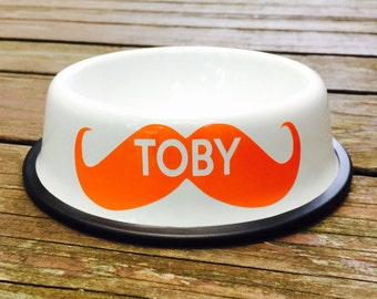 Personalized White Dog Bowl with Mustache - Personalized Dog Bowl - Custom Dog Bowls - Dog Dish - Dog Bowls - Dog Bowl with Name