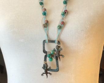 Desert Lizards Necklace/ Beaded Necklace / Gemstone Necklace / Southwestern Necklace