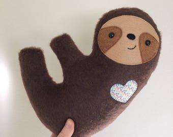 Furry Cuddly Sloth - Geometric Heart - READY TO SHIP
