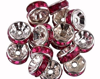Pink  Spacer Beads, Rhinestone Beads, Silver Plated Spacer Beads, Silver Plated Rhinestone Beads, Spacer Beads, Pink Spacer Beads, 8mm Bead